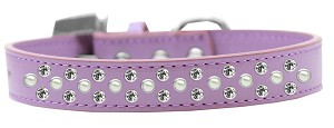 Sprinkles Dog Collar Pearl and Clear Crystals Size 14 Lavender